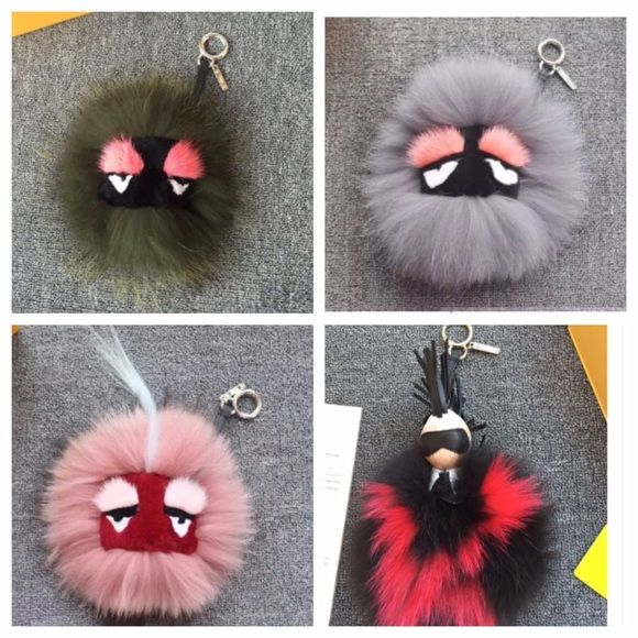 Fendi monster bag bugs Comment if you want more pictures. These are authentic. Bought the top two from Saks and the bottoms two from neimans. They are in great condition. I'm selling all of them for the same price but the Karl Pom Pom will be sold for more. FENDI Accessories