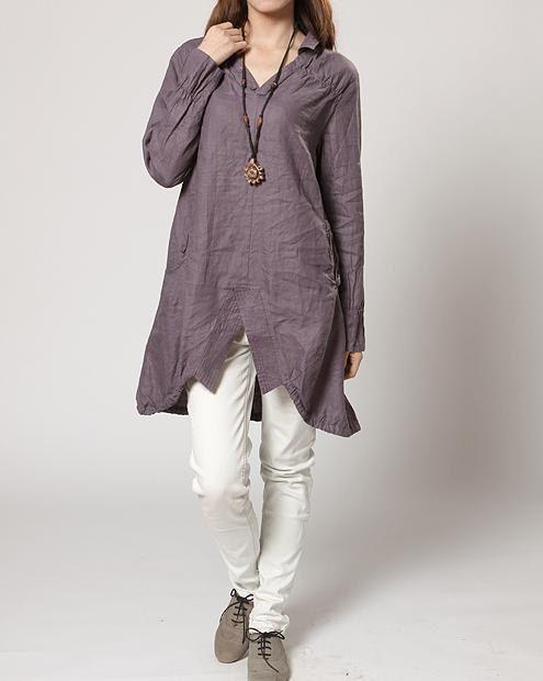 Asymmetric linen Coat / Linen hem split long shirt by MaLieb, $89.00