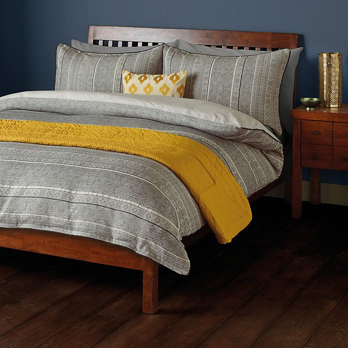 Buy John Lewis Fusion Amala Jacquard Duvet Cover and Pillowcase Set, Single, Black Online at johnlewis.com