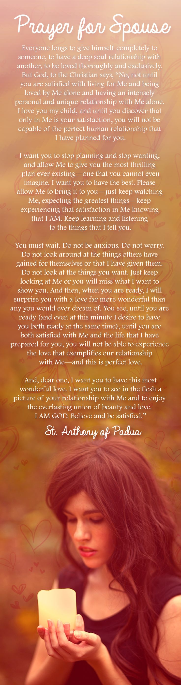 PRAYER FOR SPOUSE ♥ I remember praying this before I met Jeff. Hope to share it with my boys someday.