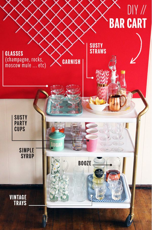 diy susty style bar cart - How To Style A Bar Cart