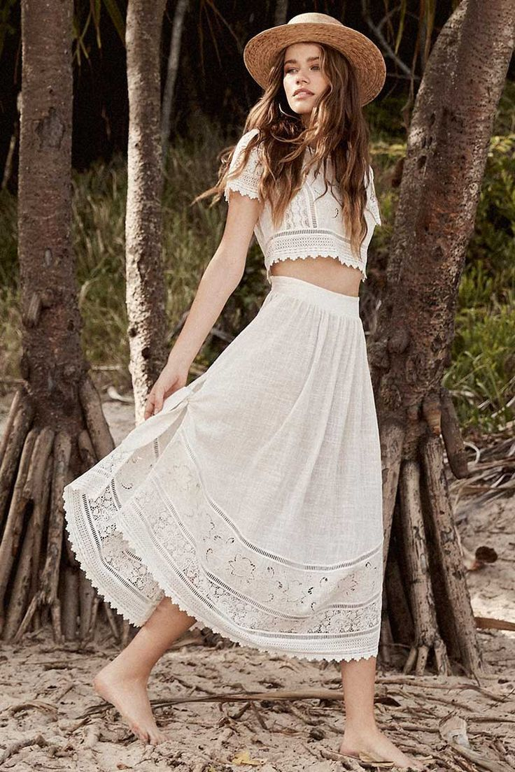 Crop Top & Maxi Skirt Set with beautiful Lace Trims made of soft ...