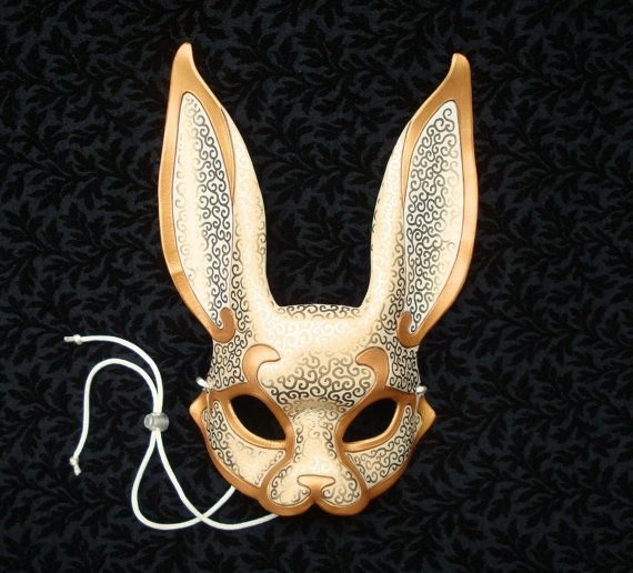 White and Gold Venetian Rabbit Mask...  leather mask by Merimask, $165.00