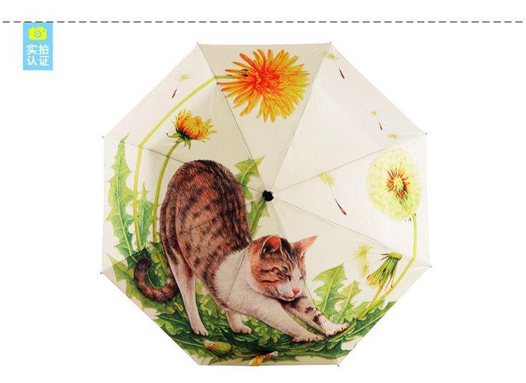 Рисунок состояние-оф-искусства большой ленивый кот зонтик 2015 мода мультфильм красочный зонт высокое качество Sombrinha Japonesa живая картина Peinture искусства