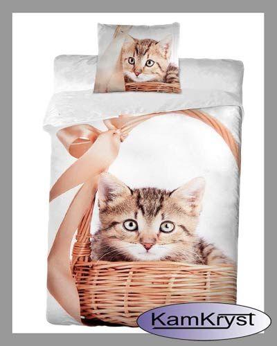 Pościel dziecięca z kotkiem w koszyku 140x200 - importer Halantex