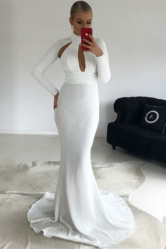 c1011d3cd947d7 simple white sequined mermaid prom dresses, elegant keyhole high neck  evening gowns with sleeves, modest cut out long sleevs prom dresses