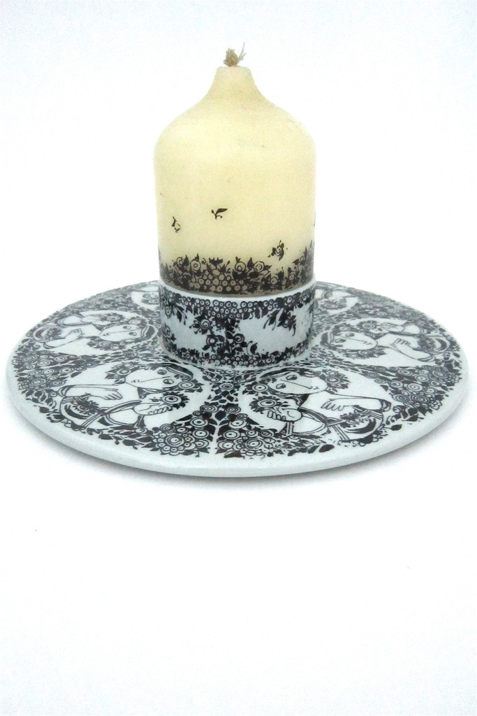 Bjørn Wiinblad for Nymolle, Denmark - candle plate with original Wiinblad candle