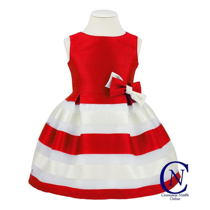 Vestido de Kiriki para ceremonia rayas rojas