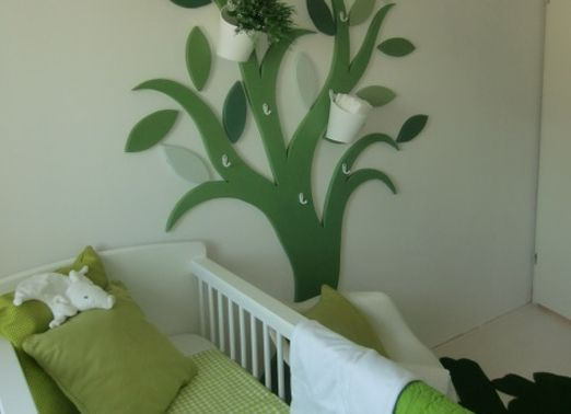 babykamer groen wit