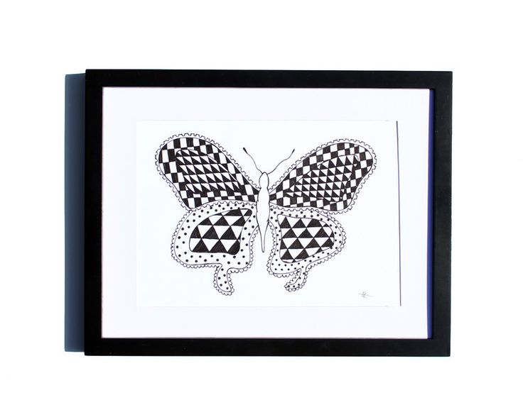 Fineliner – Drawing handmade 20x30cm: Graphic butterfly – a unique product by ARTandCAT on DaWanda