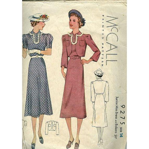 McCall 9275 | ca. 1937 Junior Miss Dress and Bolero