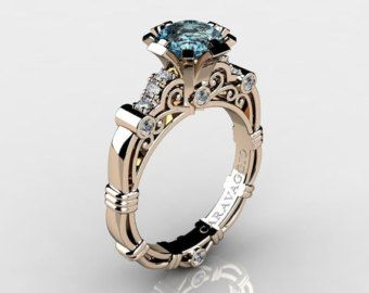 Maestri d'arte Caravaggio 14k oro rosa Ct 1,0 acquamarina diamante anello di fidanzamento R623-14KRGDAQ