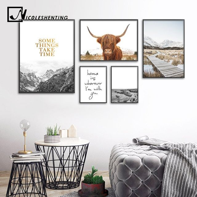 Wall Art Landscape Canvas Poster Nordic Print Mountain Highland Cow Painting Scandinavian Decoration Picture Living Room Cow Wall Art Cow Wall Decor Cow Decor