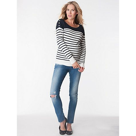 Buy Séraphine Tilly Stripe Knit Maternity Jumper, Navy/White Online at johnlewis.com