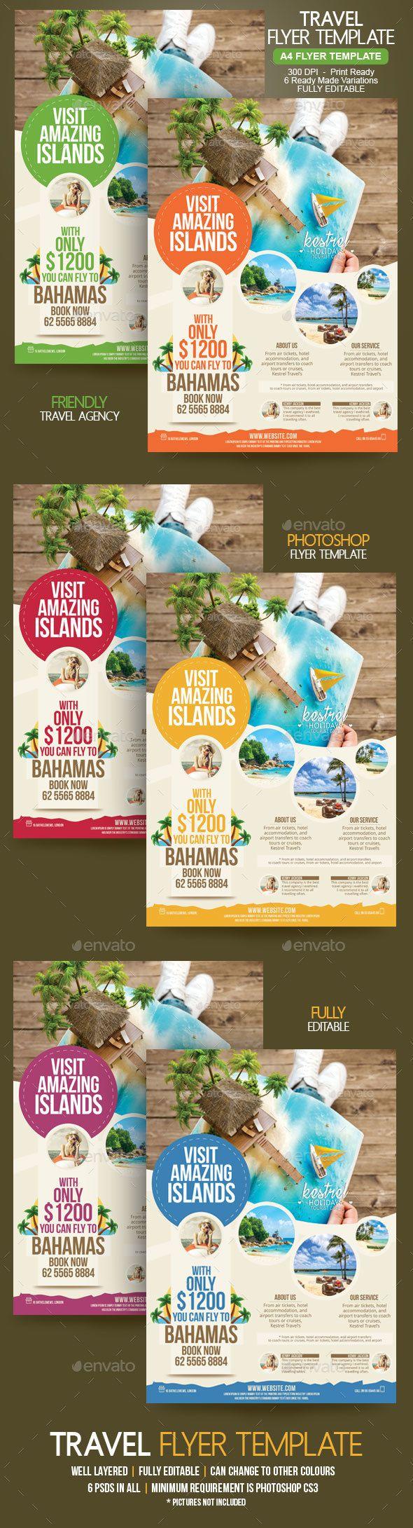 Travel #Flyer - Holidays #Events Download here:  https://graphicriver.net/item/travel-flyer/20145197?ref=alena994