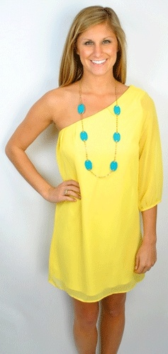 colors: Colors Combos, Spring Dresses, Dreams Closet, Aqua Blue, One Shoulder Dresses, Yellow Dresses, Yellow Turquoise, Blue Accessories, The Dresses