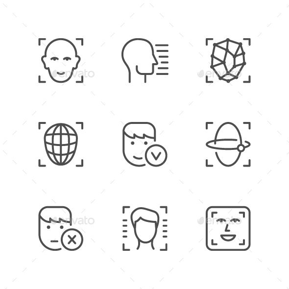 Set Line Icons Of Face Id Face Id Line Icon Icon