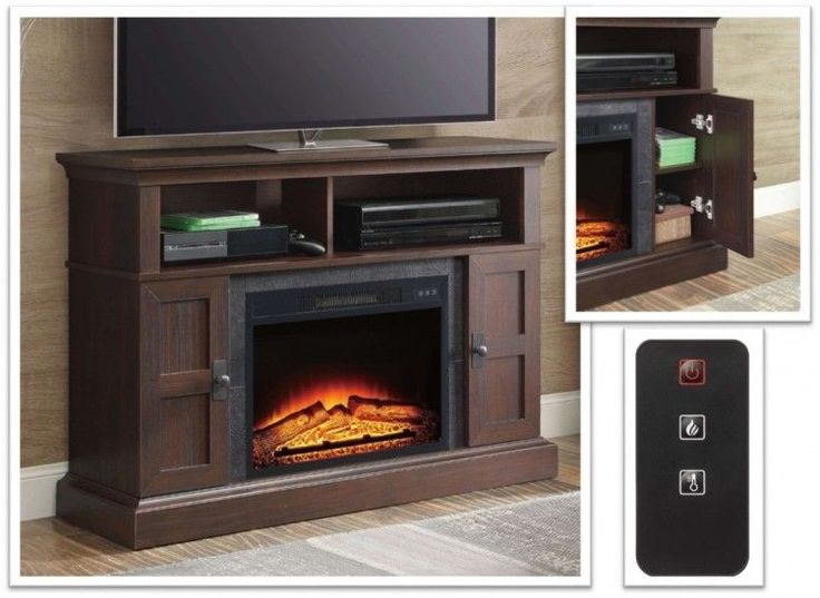 Dark Cherry Fireplace Media Center Entertainment Console Shelves Storage Cabinet #PerfectHomeSavings