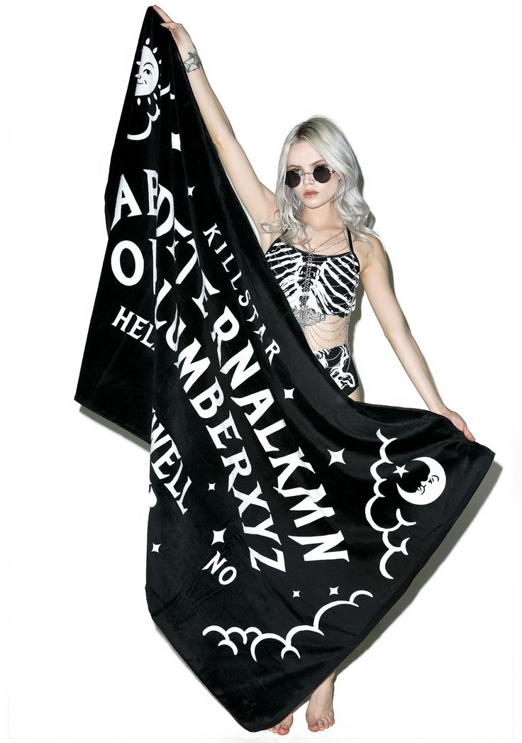 Killstar Slumber Towel is gunna wrap ya up in pitch-black f*xkin' darkness, babe. Dry yer tears with this amazing towel, featurin' a suuuper plush black 'n white construction, ouija board inspired designs, and lettering reading 'Eternal Slumber' and 'Farewell Forever.'