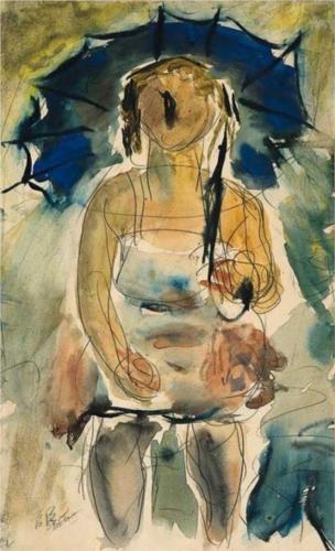 Lady with Umbrella - George Bouzianis