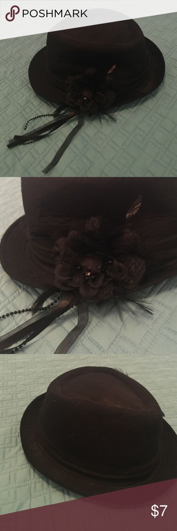 Black Fedora With flower, beads and lace embellishment. Worn once to my bday party! :) Accessories Hats