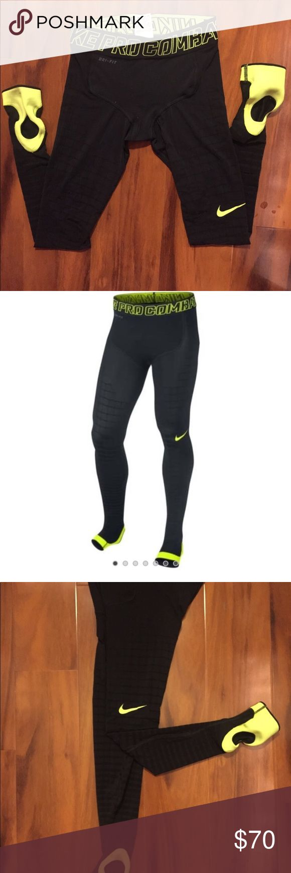 Nike Pro Combat Recovery Hypertight - Black/Volt Size M  Only worn a few times   SKU586233-010-NIKE Durable Nike Power Grid design for a graduated, compressive fit Dri-FIT fabric helps keep you dry and comfortable Foot stirrup to ensure a secure fit Ultra-lightweight, breathable fabric with mesh lining for ventilation Wide stretch waist for support and a snug fit Flatlock seams move smoothly against the skin PRODUCT DETAILS Fabric: Dri-FIT 80% polyester/20% spandex Nike Pants Sweatpants…
