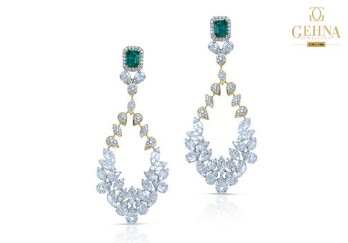 Dazzle up your jewellery collection with #Emerald and #Diamond studded chandelier #earrings !