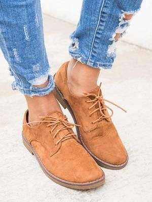 ac95003531 Fall Trendy Comfort Oxfords Shoes Lace-up Daily Faux Suede Loafers –  Mollyca. Description:Upper Material:Faux SuedeToe Type:Round ToeHeel Type: Low HeelHeel ...