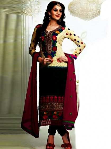 Shop Here http://www.silkmuseumsurat.in/salwar_kameez/cream-black-faux-georgette-fabric-pakistani-suit Item #: 3915 Cream & Black Faux Georgette Fabric Pakistani Suit Color : Black, Cream Fabric : Faux Georgette Occasion : Casual, Festival, Party, Reception, Wedding Style : Pakistani Salwar Kameez Work : Embroidered, Patch Border
