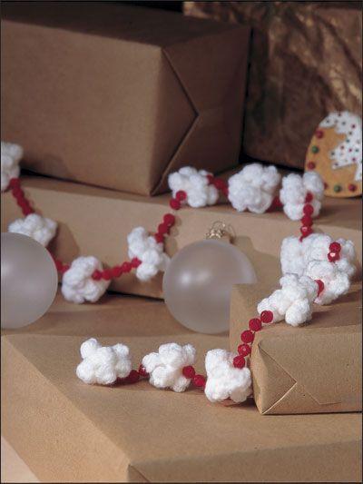 "Crocheted ""popcorn & cranberry"" garland. So sweet!"
