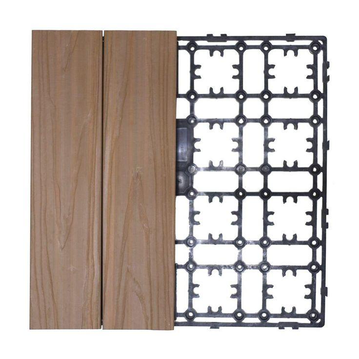 Deck A Floor Premium Modular Outdoor Composite Flooring System Kit Sample In Peruvian Teak