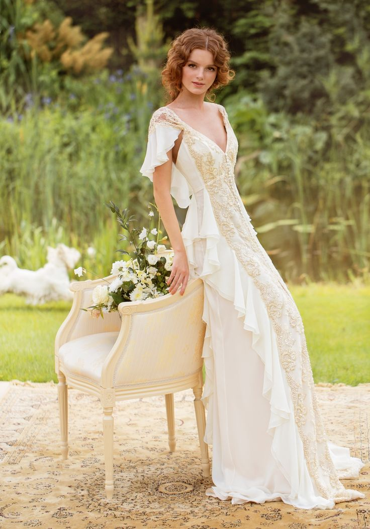 """Papilio beaded gown with flutter sleeves. """"Sole Mio"""" Collection"""
