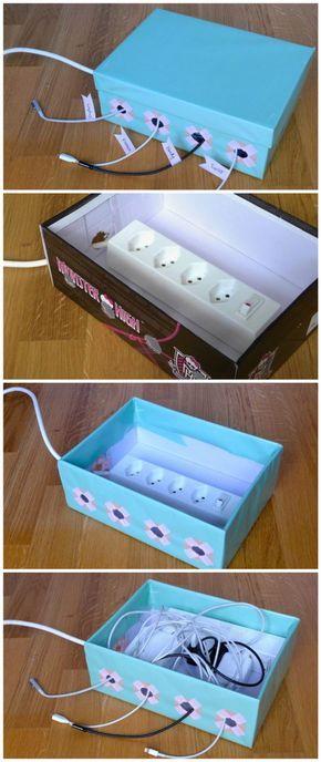 Sur la bureau fabriquez une boîte pour cacher des fils électriques à partir d' une boîte à chaussures en carton