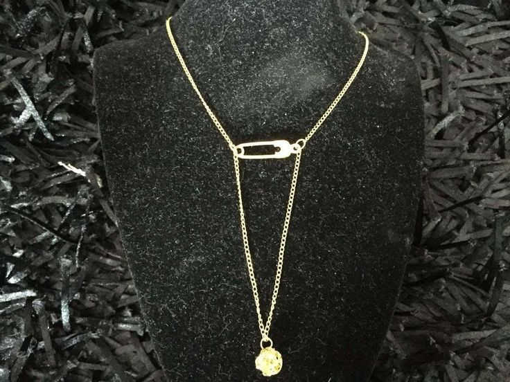 Golden plated chain necklace with safety pin and golden bead, safety pin necklace by pacforme on Etsy