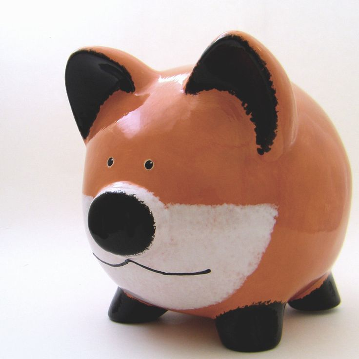 Red Fox Piggy Bank Personalized Piggy Bank Woodland