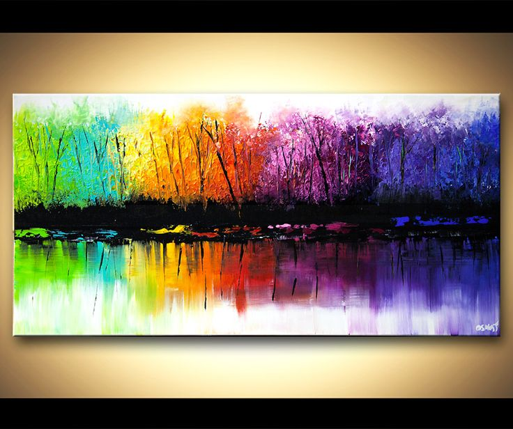 Original abstract art paintings by Osnat - colorful reflection seasons abstract  blooming trees