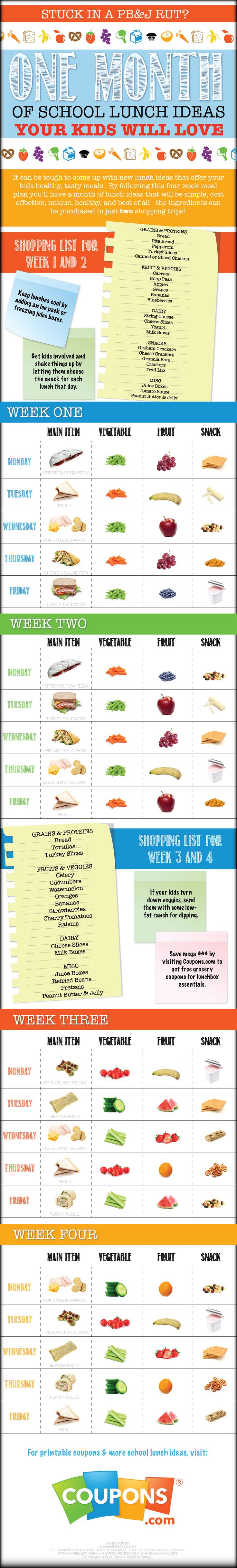 School is now in full swing and we know what a daily challenge it can be to create tasty, healthy lunches for your kids while also staying within budget.That's why we've partnered with KitchMe.com to create a free meal planner that gives you a month's worth of easy-to-follow lunch ideas.  Source: http://www.coupons.com/blog/easy-school-lunch-ideas-infographic/