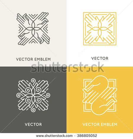 Vector logo design template in trendy linear style - concept and emblem for spa, holistic and meditation centers, massage therapy, yoga studios