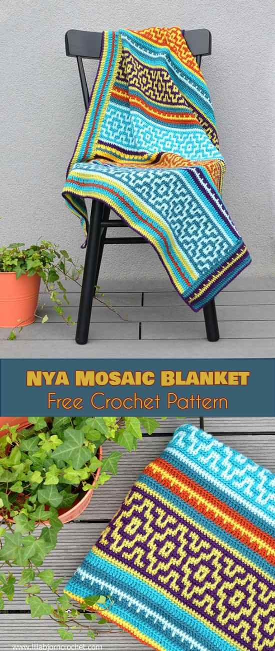 NYA Mosaic Blanket - Free Crochet Pattern. The Nya Mosaic Blanket is a novel application of basic crochet stitches. The size is arbitrary, and can be adjusted to fit any need. The colors for the pattern are only limited by your imagination.