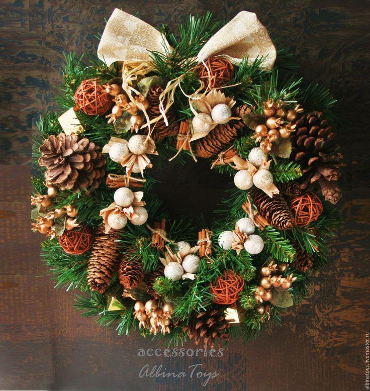 Купить . Новогодний интерьерный венок Теплое Рождество диам 41 см - венок, интерьерное украшение