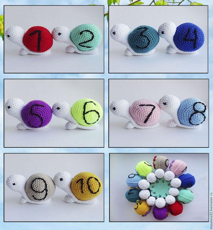 Купить Вязаная развивающая игрушка - игра УЛИТОЧКИ - развивающая игрушка, игрушка улитка, комплект игрушек
