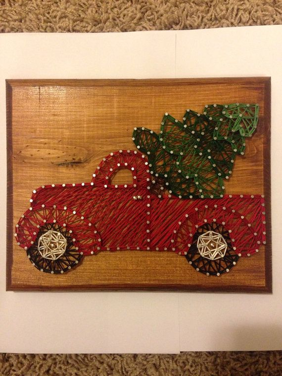 String art Christmas truck by my2heARTstrings on Etsy