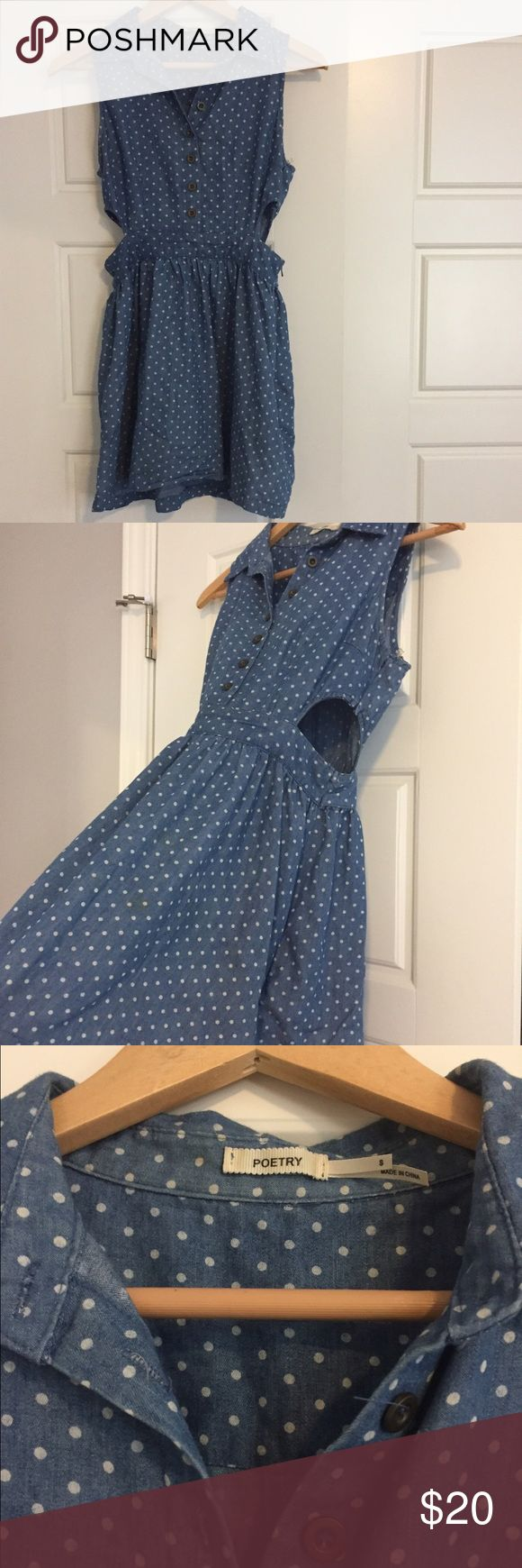 Poetry brand blue polka dot dress w cutouts Adorable blue dress with white polka dots. Buttons up in the front and has diamond cut outs on the sides. Zips up on left side. Poetry Dresses