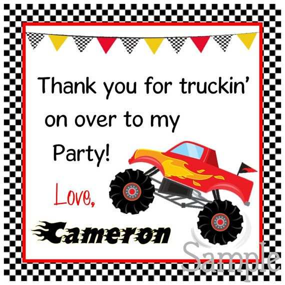 Printable Monster Truck Gift Tags DIY Monster Truck Tags