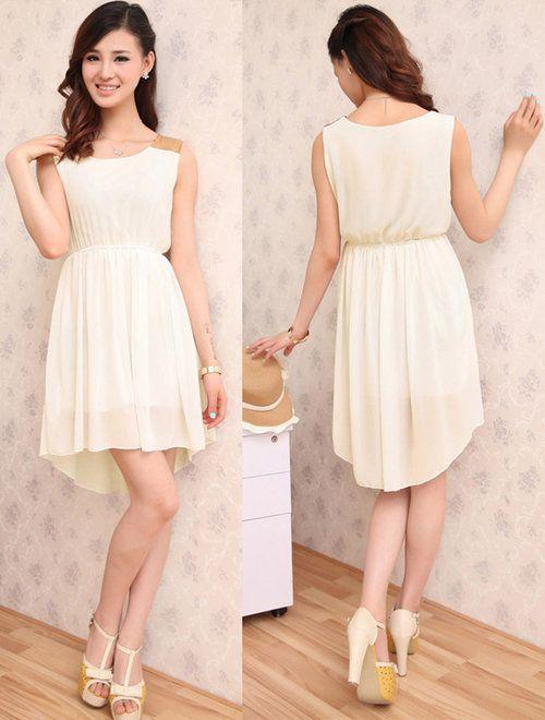 Apricot Dress Chiffon Sleeveless Irregular Skirt Sequins Shoulder - $35