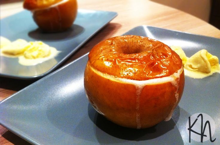Baked apples with nuts and raisins, honey and rum