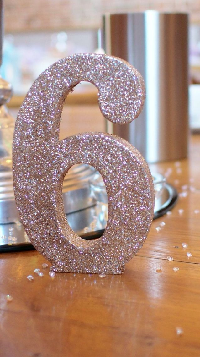 Wedding Table Numbers Rose Gold Glitter