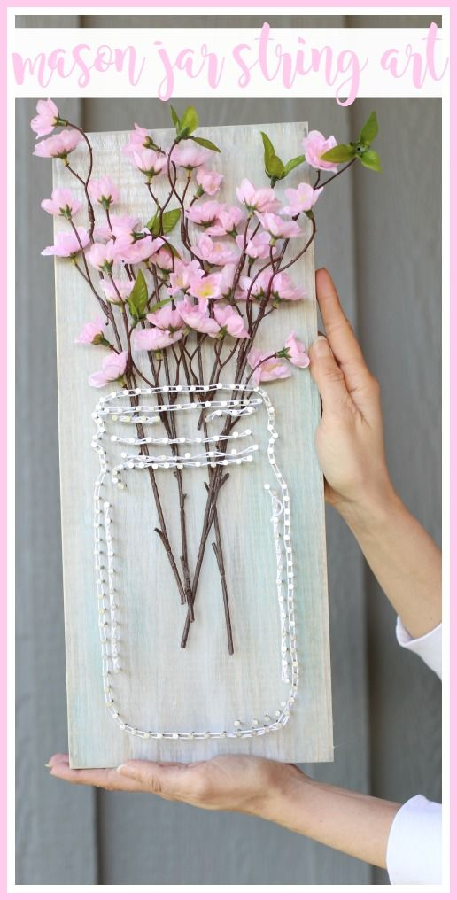How to make your own mason jar string art from MichaelsMakers  Sugarbee Crafts