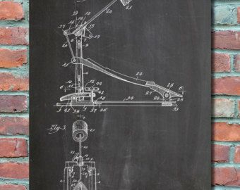 Drum Kick Pedal Patent Art Print, Patent Art, Blueprint, Patent Print, Patent Poster, Plexity Prints #038
