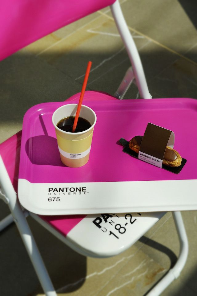 sitting on the grimaldi forum waterfront in monaco is the pantone cafe a pop up restaurant where every single item is